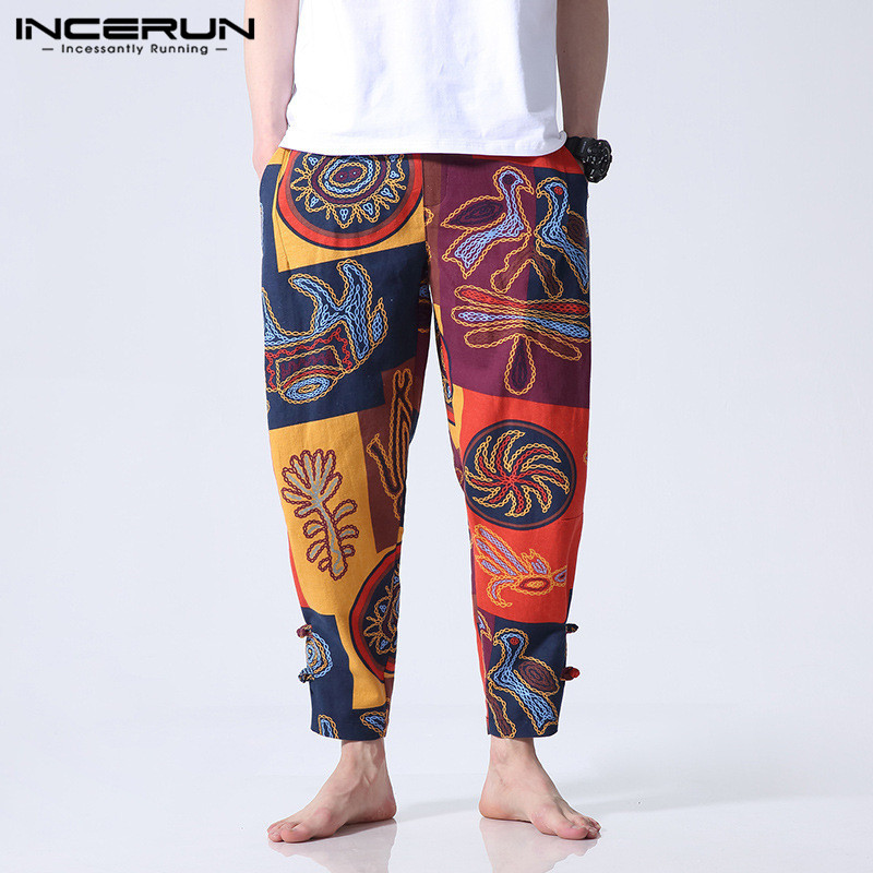 INCERUN Trousers Male Sweatpants Ethnic Elastic-Waist Loose Fitness Baggy Cotton Casual