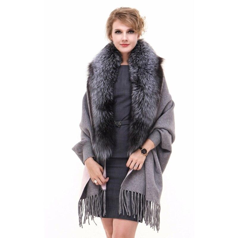 Роскошные кашемировые шали с кисточками и воротником из лисьего меха для женщин, свадебные женские шали для невесты, женские шали LF5074