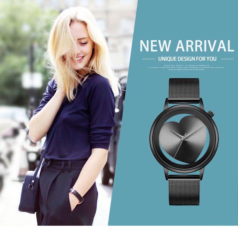 Women Watches Quartz Hollow Analog Stainless Steel Mesh Band Rose Gold Luxury Brand Design Wristwatch Fashion Dress New 4