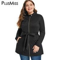 PlusMiss Plus Size 5XL L Black Zipper Stand Collar Tunic Jacket Coat Belt Women Autumn Winter 2018 Outerwear Female Overcoats