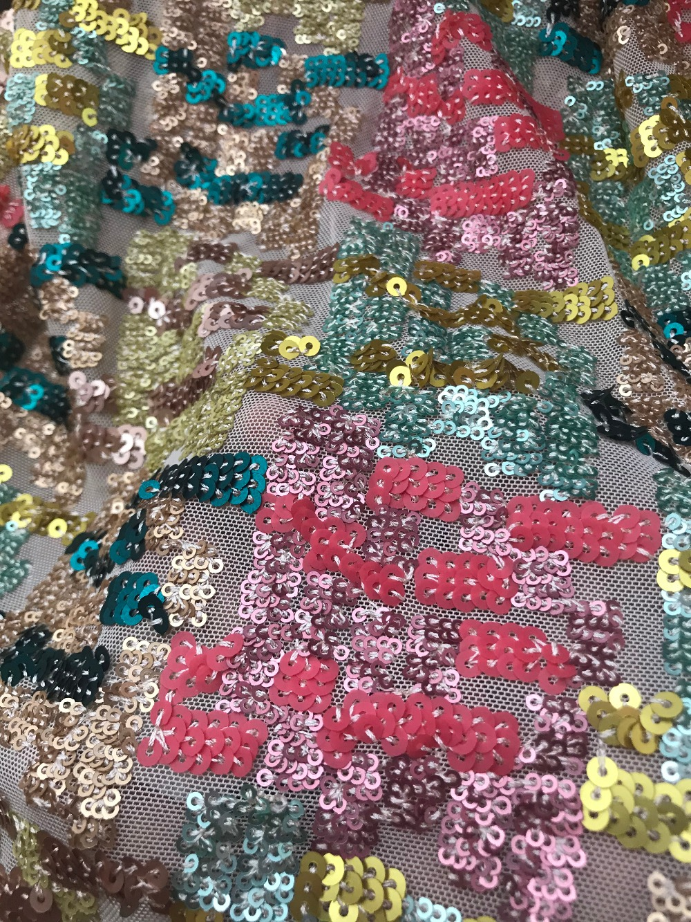nice looking sequins net african embroidered tull lace fabric JIANXI C 121127 for fashion dress