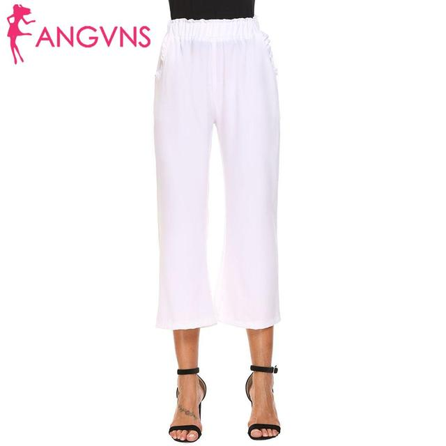 ANGVNS Casual Elastic Waist Pull On Ruffles Wide Leg Women Loose Cropped Pants