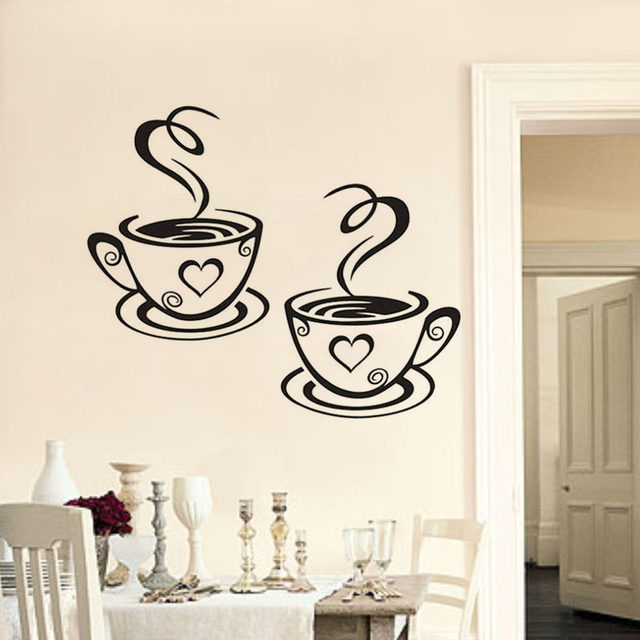 Online Shop DCTOP Double Coffee Cups Vinyl Wall Stickers Wall Art - Vinyl wall decal adhesive