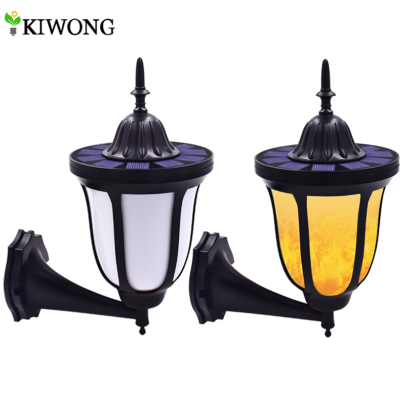 Solar Wall Lights Flickering Flames 96 LED Outdoor Dancing Night Light Waterproof New Lantern Design for Garden Door Patio Yard-in Solar Lamps from Lights & Lighting