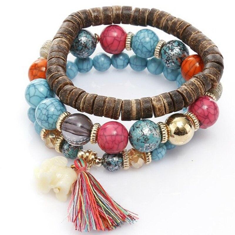 Hot Bohemian Bracelets Women Elephant Tassel Charm Bracelet Wooden Beads Couple Bracelet Vintage Boho Jewelry Elastic Pulseras