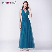 Teal Dress For Wedding Ever Pretty EP07467 Elegant A Line V Neck Long Tulle Bridesmaid Dresses 2018 Vestidos De Damas De Honor