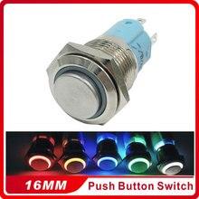 1pcs 16mm Latching Self-locking LED Light Push Button Switch Waterproof High Round Stainless Steel Metal  Car Auto Lock цена 2017