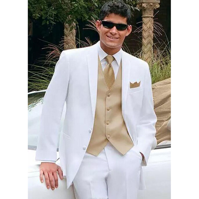 white wedding suits for men gold vest Jacket+Pants+Tie