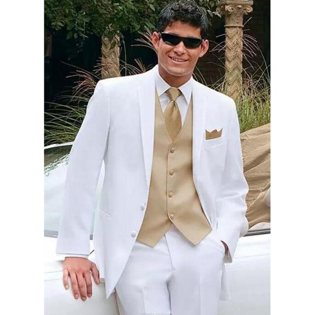 White Wedding Suits For Men Gold Vest Jacket Pants Tie Mens Tuxedos