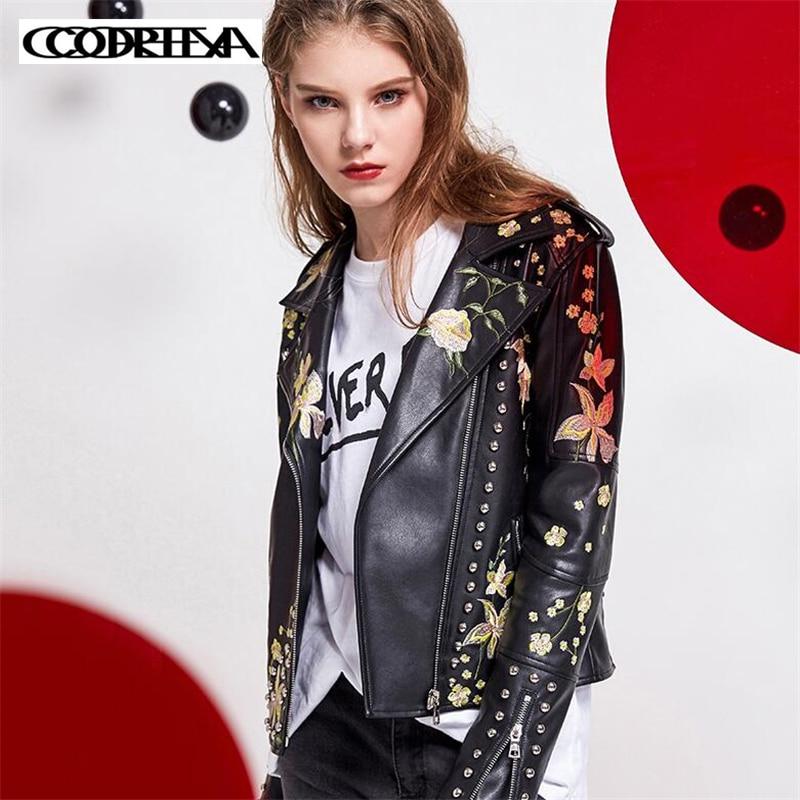 High quality flower embroidered leather jacket Motorbike Women Slim PU Leather Coats Moto Streetwear Rock Style
