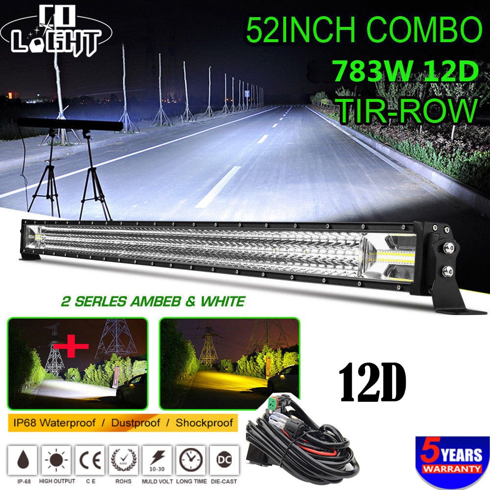 CO LIGHT 52 inch 783W Led Bar 12D Flashing Led Light Bar Offroad Strobe Spot Flood