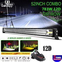 CO LIGHT 52 inch 783W Led Bar 12D Flashing Led Light Bar Offroad Strobe Spot Flood Work Light 12V for Tractor Truck Car Jeep ATV co light 12d led bar curved 405w led light bar 32led light bar strobe work light combo led auto lamp for atv jeep truck offroad
