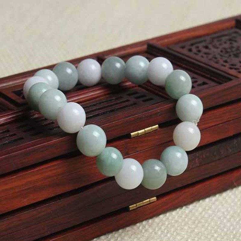 Natural Green Jade Bead Bracelet Hand Carved Jewelry Gifts Wholesale