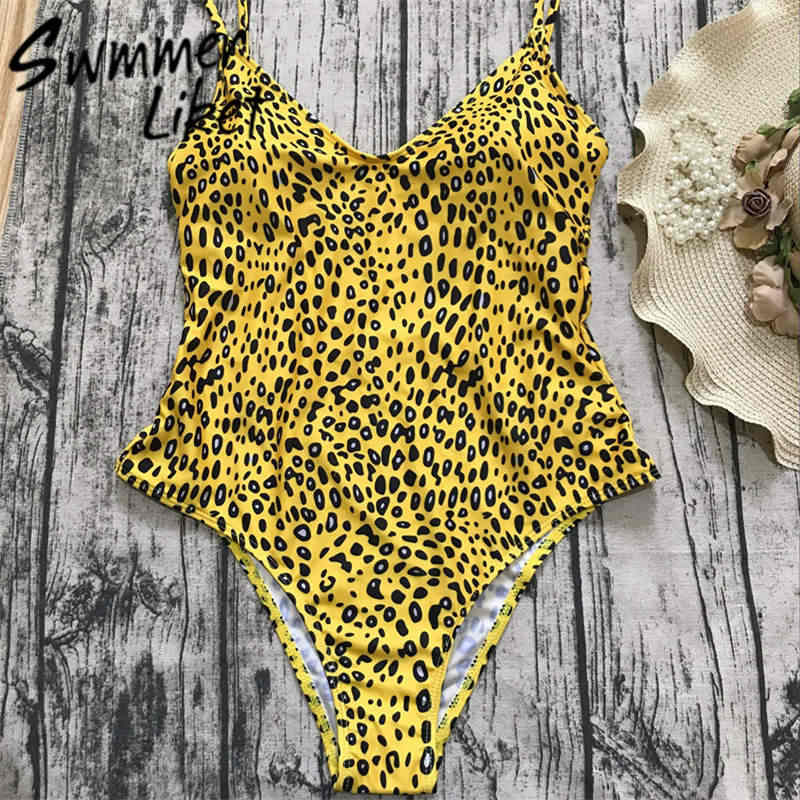 cce4806c01 ... Leopard one-piece suits bandage swimsuit 2018 Sexy bodysuit brazilian  bikini set Yellow swimwear women ...