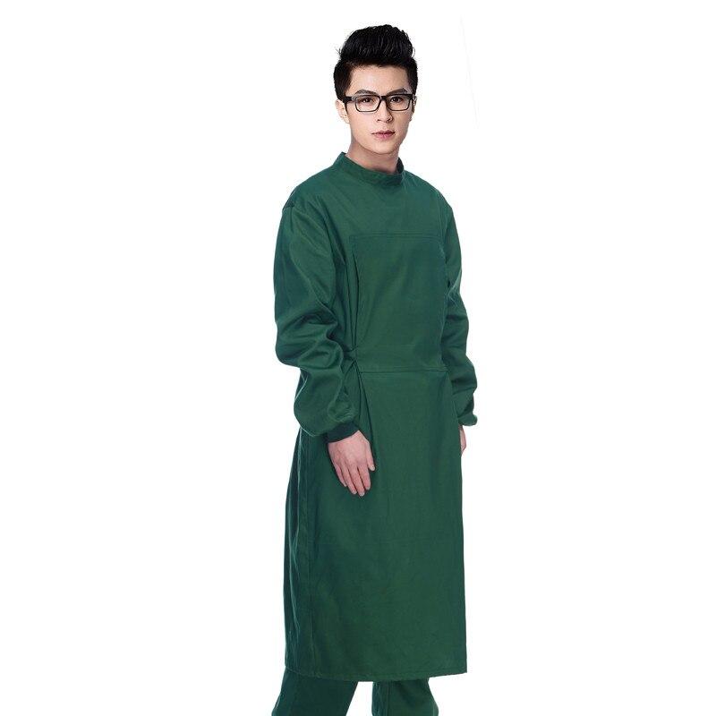New Hospital Doctor Nurse Man Long-sleeve Dark Green Coats Medical Clothing Surgical Isolation Medical Uniform Scrub Sets