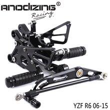 Pełna aluminiowy cnc do motocykla regulowane tylne zestawy tylne zestaw podnóżki dla YAMAHA YZF R6 2006 2007 2008 2009 2010 2011 2012 2015