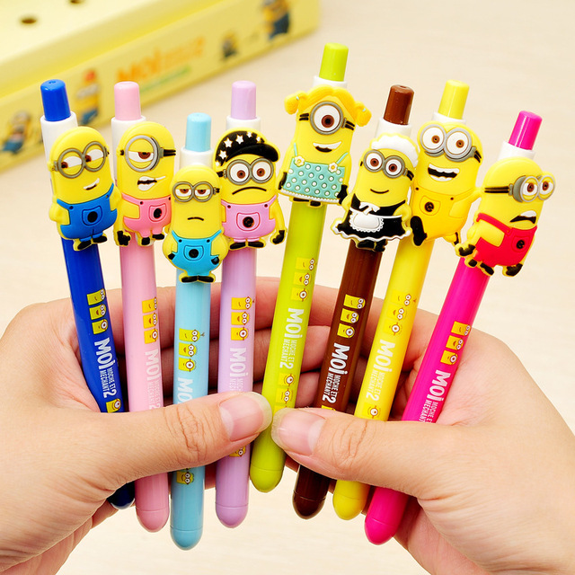 12PCS Birthday Party Decorations Kids Souvenirs Cartoon Minions Gel Pen Baby Shower Favors Boy Girl