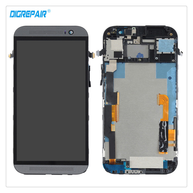 100% Brand New Black For HTC One M8 LCD Display Touch Screen Digitizer Glass Panel Assembly Repair Replacement Parts+Bezel Frame