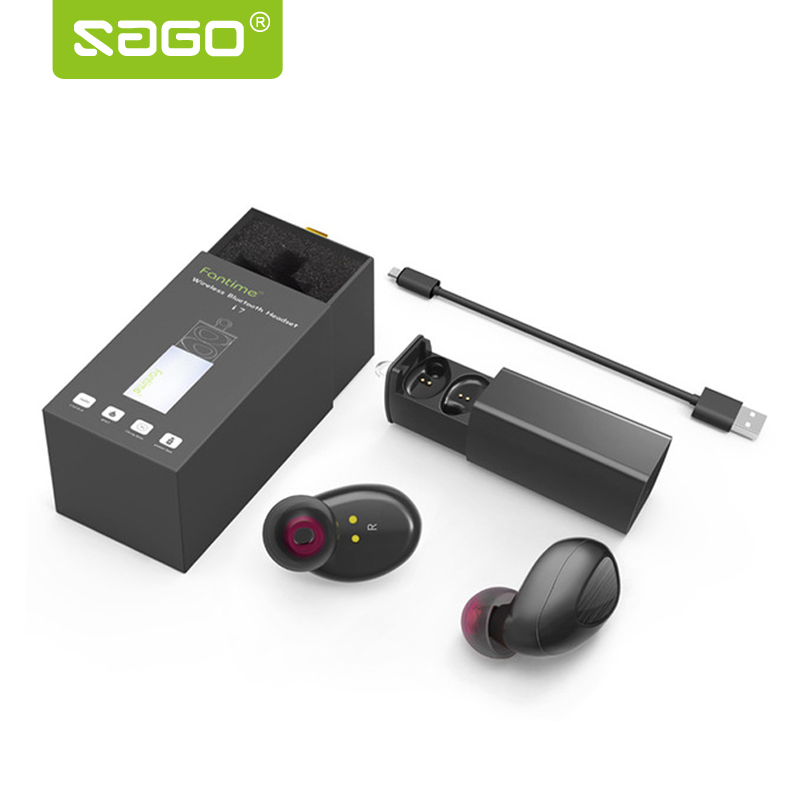 Sago 2017 Hot Sale Bluetooth Earphone Wireless Earbuds TWS i7 Headset With Charger Box PK Q29 x2t k2 For Iphone 8 and Andriods