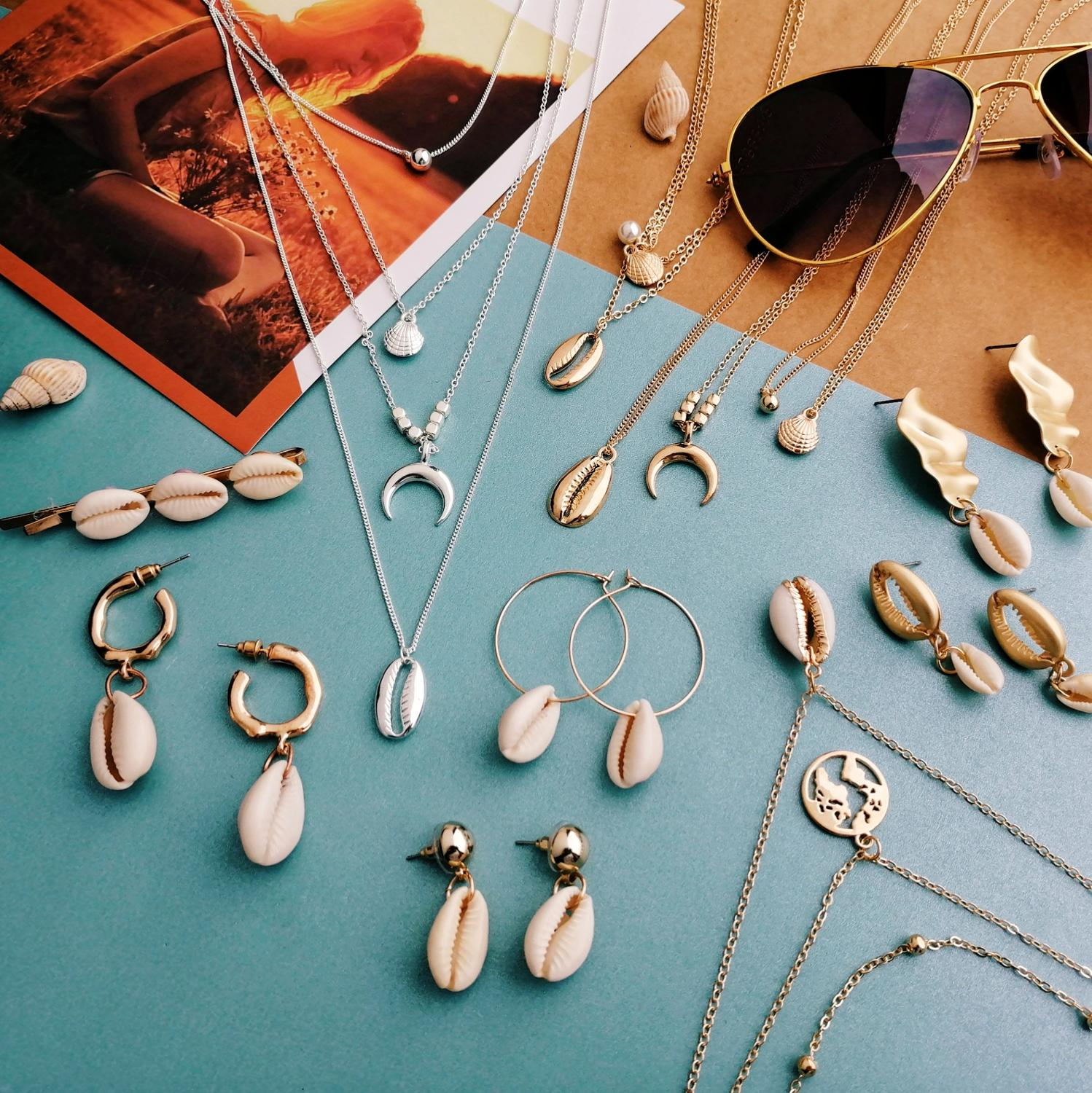17KM Shell-Pendant-Necklaces Ocean Jewelry Gifts Multilayer Long-Choker Gold-Color Bohemian