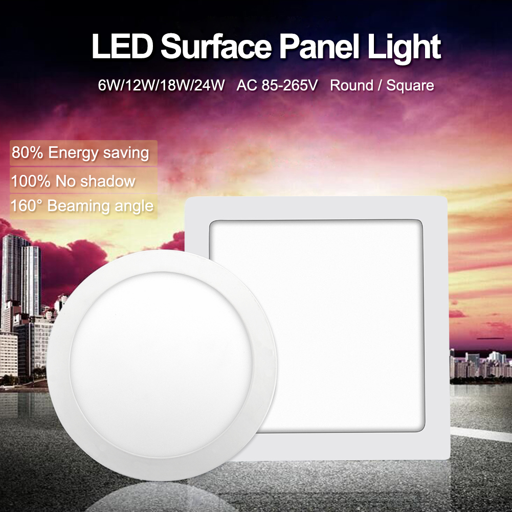 TSLEEN New AC 85-265V Surface LED Ceiling Panel Down Light Spot Lamps Fixture+Driver Cool Warm White LED 6W 12W 18W 24W Bathroom
