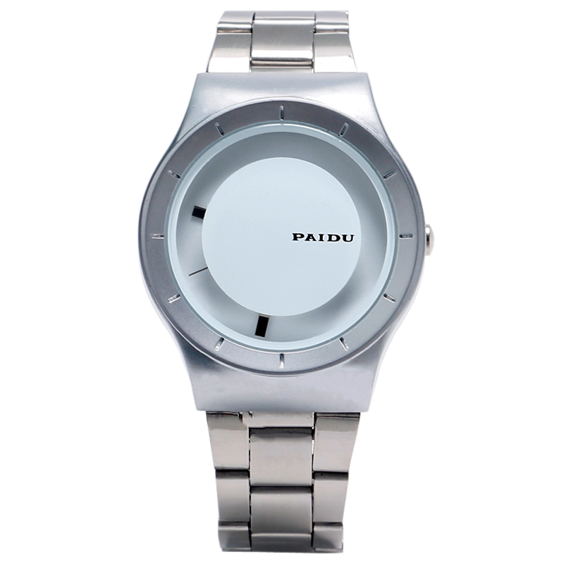 PAIDU Men Watch Fashion White Turntable Analog Dial Silver Stainless Steel Band Strap Fold Clasp Men Women Dress Quartz Clock popular women watch analog with diamonds style round dial steel watch band