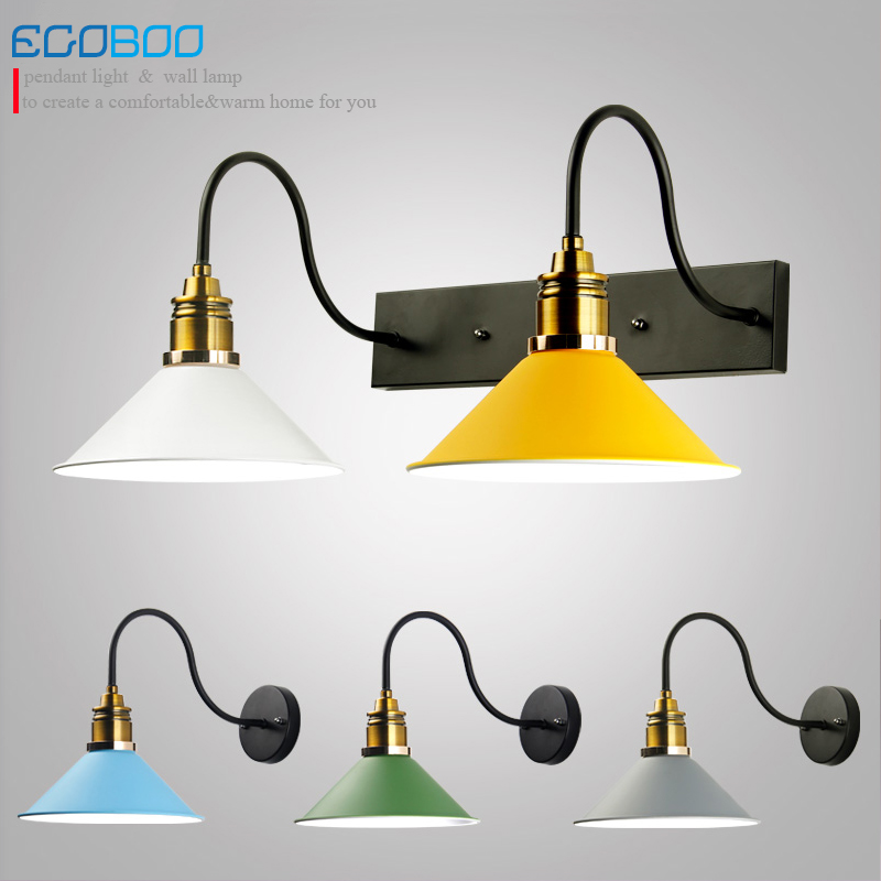 Nordic simple creative colorful wall lamp vintage bedroom bedside wall lights indoor modern staircase lights iron lampshade