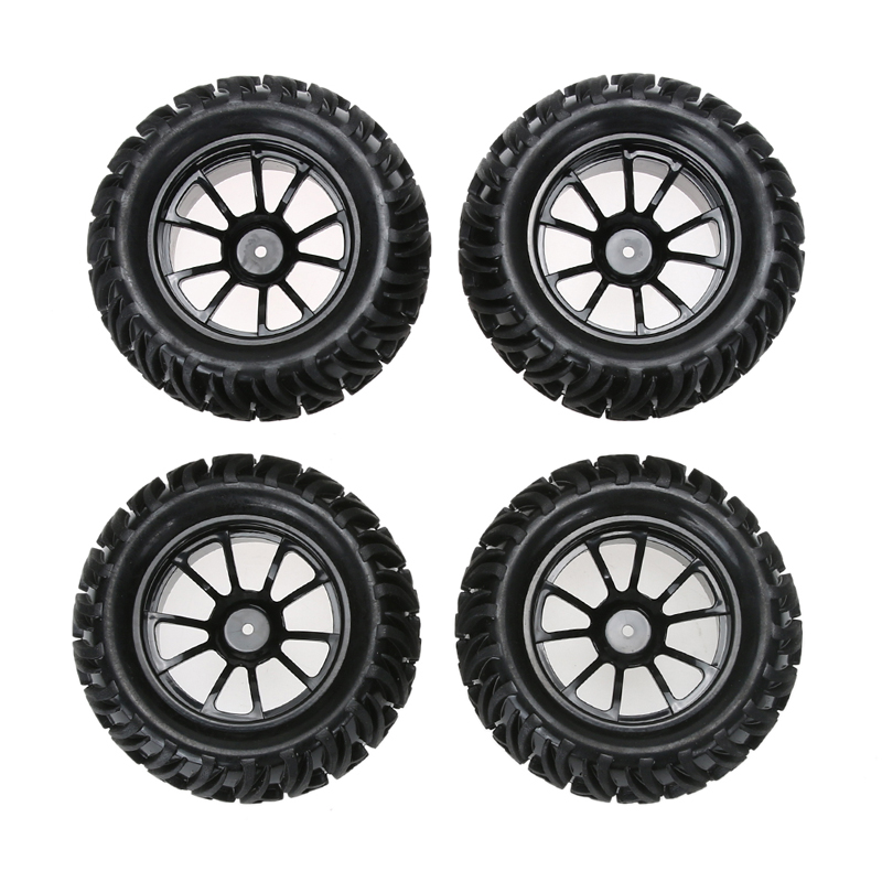 4PCS Wheel Rim & Tires For HSP 1:10 Monster Truck RC Car 12mm Hub Truck Wheel