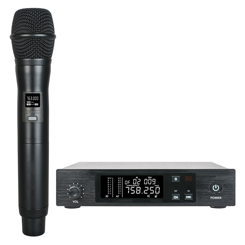 UHF PRO Wireless Microphone System Handheld Cordless Microphone Vocal Mic frequency adjustable IR Sync for Stage Live Karaoke DJ bardl us 132 2 channels uhf infrared frequency lcd 200 frequency adjustable wireless microphone handheld lavalier headset