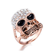 Fashion Demon Skull White Crystal Zircon Rose Gold Color Women Punk Style Wedding Ring