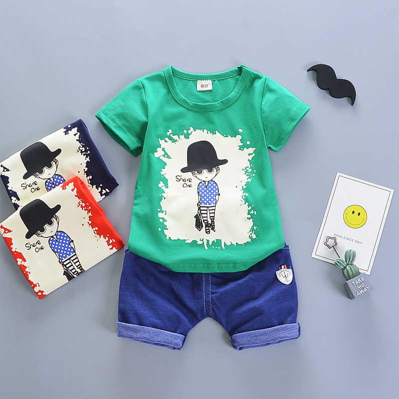 Bibicola Baru Lahir Olahraga Cocok untuk Penjualan Panas Bayi Anak Pakaian Merek Musim Panas Anak-anak Pakaian Set Tshirt + Pendek Sesuai dengan Kartun Dicetak pakaian