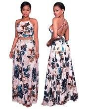 Women Floral Print Maxi Skirt Suit Summer Cross Back Crop Top And High Waist Skirt 2 Piece Set Summer Backless Long Skirt Sets