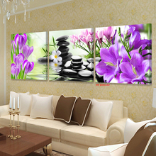 XIN SHENG MEI Oil Painting Canvas Wall Art Pink Orchids Decoration Art Modular Pictures On The Wall Sitting Room Poster 3P043