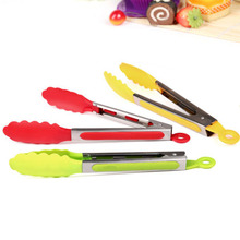 1PC 10″ Plastic Kitchen Tongs BBQ Clip Food Salad Tongs Bread Cake Helper Tools Kitchen Utensils