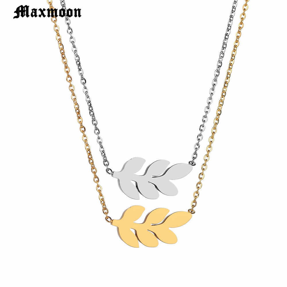 Maxmoon 2018 Hot Fashion Gold Silver Plated Chain Necklace Leaf Casual Beads Long Strip Pendants Gifts Women Necklaces Jewelry