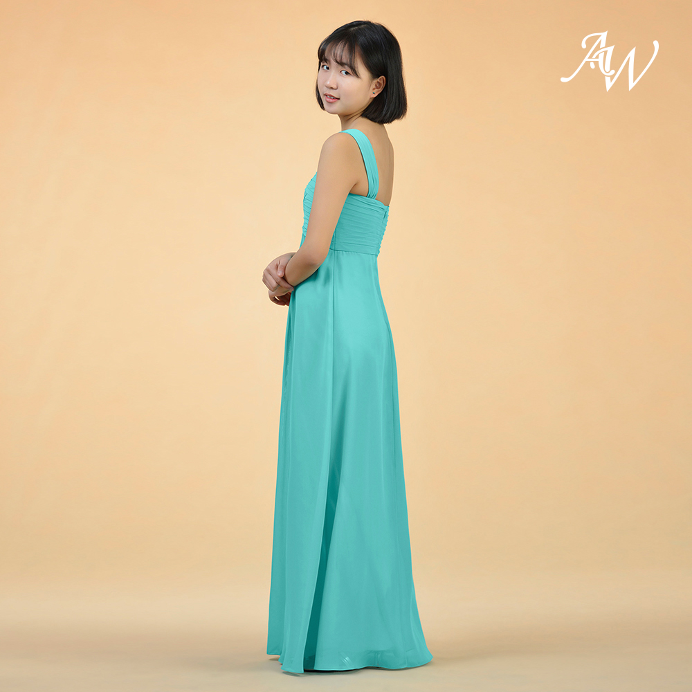 AW A Line Princess One Shoulder Floor Length Chiffon Junior Bridesmaid Dress  With Ruffle-in Bridesmaid Dresses from Weddings   Events on Aliexpress.com  ... d08599b2b1e4