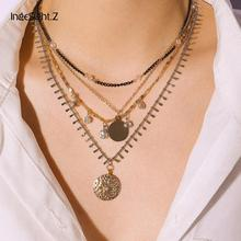 IngeSight.Z Bohemian Multi Layered Crystal Flower Choker Necklace Collar Statement Carved Coin Pendant Necklace Women Jewelry