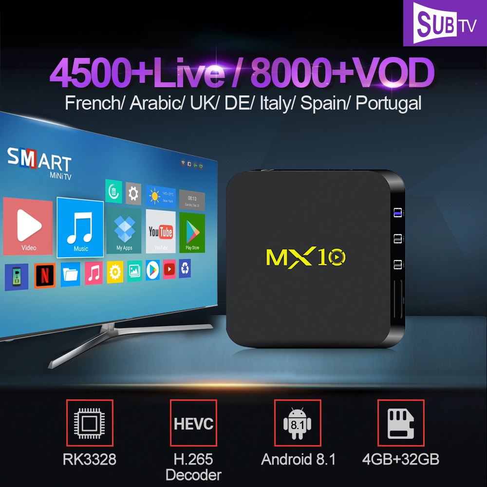 IPTV France MX10 Android 8.1 4G 32G RK3328 Smart TV Box With 1 Year SUBTV IPTV Code Arabic UK Portugal Italy 4K Full HD IP TVIPTV France MX10 Android 8.1 4G 32G RK3328 Smart TV Box With 1 Year SUBTV IPTV Code Arabic UK Portugal Italy 4K Full HD IP TV