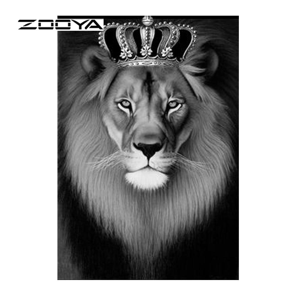 ZOOYA Diamantový malíř Creative King Lion Diamantový mozaikový - Umění, řemesla a šití