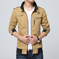 2016 Spring Autumn Mens Solid Flight Army Green Bomber Jacket Men's Rib Sleeve Zipper Short Air Force  Coats khaki Clothing