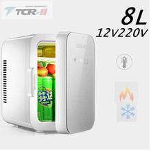 Wysokiej przenośna lodówka Mini lodówka DC12V AC220V 8L lodówka samochodowa studenta skrzynka chłodząca dotykowy zamrażarka cichy lodówka samochodowa tanie tanio TTCR-II 12 v 6L = = 10L model CBJ-8A-VIT (freezer) 2 89 PP plastic + ABS material 12V freezer Mini car refrigerator