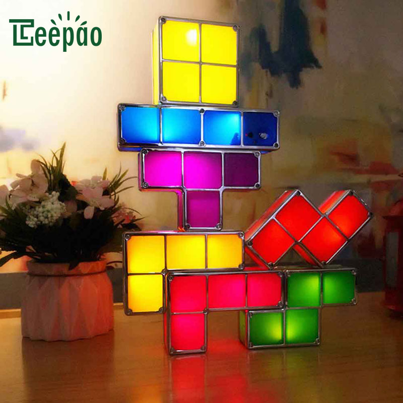 7Pcs DIY Tetris Lamp Creative Puzzle Light Stackable LED Night Light Block Desk Lamp Retro Game Tower Colorful Brick Toy light цены