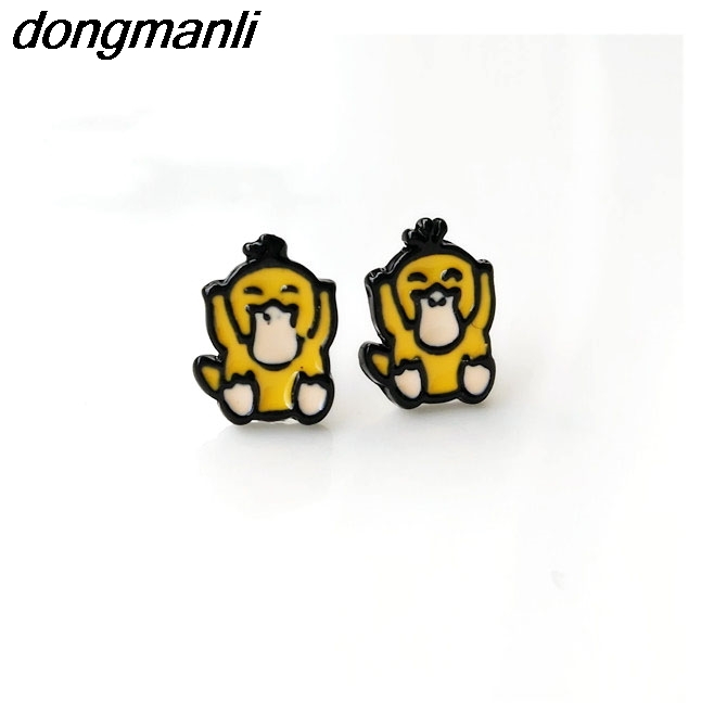 F46 No Nickel Cartoon Enamel Metal Cute Pokemon Go Team Cat Psyduck Squirtle Meowth Stud Earrings For Womens Kids Gift