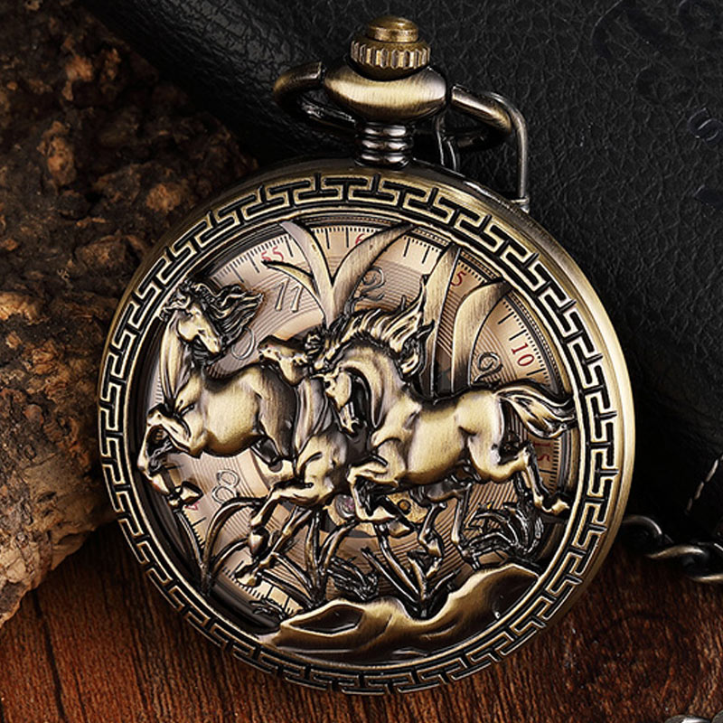 Carved Horse Pattern Mechanical Pocket Watch Vintage Hollow Bronze Fob Hand Watch Necklace With Chain For Men Women Steampunk