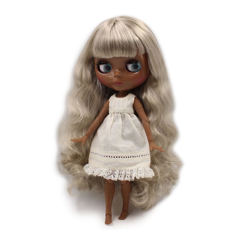 fortune days factory blyth doll super black skin tone darkest skin wavy grey hair joint body 1/6 30cm BL8800 fortune days factory blyth doll super black skin tone darkest skin dark brown hair joint body 1 6 30cm bl0521