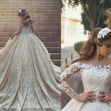 BONJEAN Ball Wedding Dresses 2019 Long Sleeves Bridal Gown