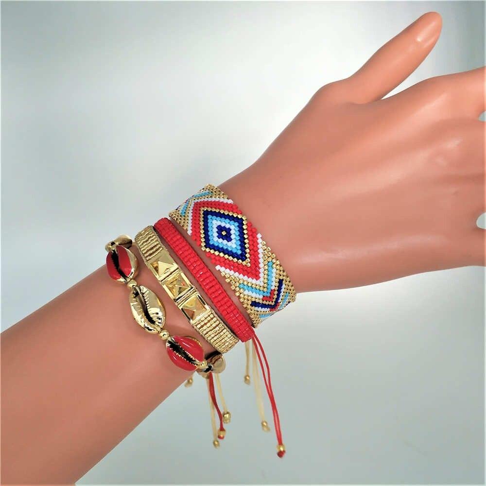 Go2boho Bösen blick Armband Frauen Perles MIYUKI Pulseras Mujer Schmuck Manschette Armband 2019 Handgemachte Gold Shell Bileklik Sommer Geschenk