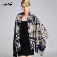 National Style Women Scarf Thick Leopard Shawl Large Pashmina With Tassel Winter Keep Warm Shawl Female Scarves