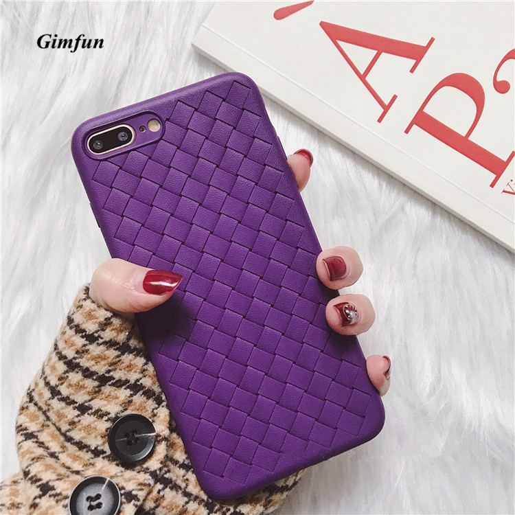 newest 05c34 8b5f6 Simple Purple Pink Braid Patten Phone Case Soft Tpu Plaid Iphone 6 7 8 Plus  Xs Max XR Anti-Knock Back Cover