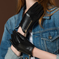 High Quality Women's Fashion Casual Winter Warm Genuine Leather Gloves Touch Screen Mittens Black Plus Velvet Warm Driving Glove